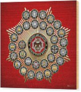 33 Scottish Rite Degrees On Red Leather Wood Print