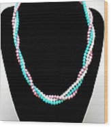3584 Three Strand Twisted Shell Necklace Wood Print