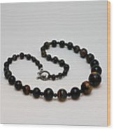 3608 Blue Tiger Eye Graduated Necklace Wood Print