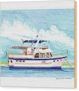 37 Foot Marine Trader 37 Trawler Yacht At Anchor Wood Print by Jack Pumphrey