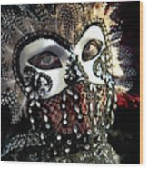 Venice, Italy Mask And Costumes Wood Print