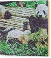 3722-panda -  Watercolor 2 Sl Wood Print