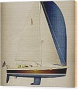 39 Blue Spinnaker Wood Print