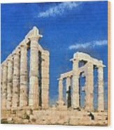 Poseidon Temple Wood Print