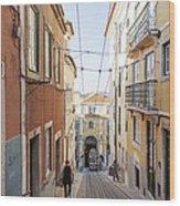 The Bica Funicular Wood Print