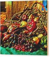 3d Cornucopia In Watercolor Wood Print