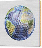 3d Rendering Of A Planet Earth Golf Wood Print