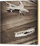 1955 Chevrolet Belair Hood Ornament Wood Print
