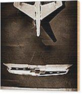 1955 Chevrolet Belair Nomad Hood Ornament Wood Print