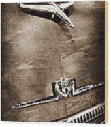 1956 Mercury Monterey Hood Ornament - Emblem Wood Print