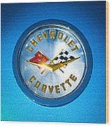 1958 Chevrolet Corvette Emblem Wood Print