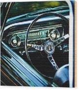 1965 Shelby Prototype Ford Mustang Steering Wheel Emblem Wood Print