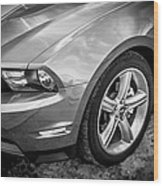 2010 Ford Mustang Convertible Bw Wood Print