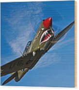 A Curtiss P-40e Warhawk In Flight Wood Print