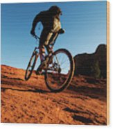 A Middle Age Man Rides His Mountain Wood Print