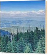 A Wide View Of The Great Smoky Mountains From The Top Of Clingma Wood Print