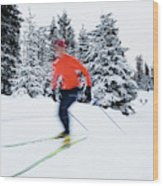 A Young Woman Cross-country Skiing Wood Print