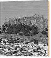 Acropolis And Village Of Lindos Wood Print