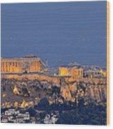 Acropolis Of Athens During Sunrise Wood Print