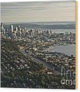 Aerial View Of Seattle Wood Print