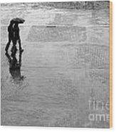 Alone In The Rain Wood Print