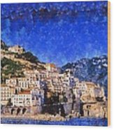 Amalfi Town In Italy Wood Print