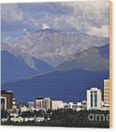 Anchorage Skyline Wood Print