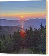 Blue Ridge Parkway Autumn Sunset Over Appalachian Mountains  Wood Print