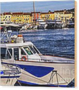 Boats At St.tropez Wood Print by Elena Elisseeva