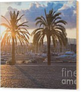 Boats In The Harbor Of Barcelona Wood Print