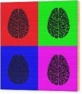 4 Brain Pop Art Panel Wood Print