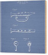 Bugle Call Instrument Patent Drawing From 1939 - Light Blue Wood Print