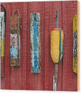 Buoys At Rockport Motif Number One Lobster Shack Maritime Wood Print