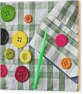 Buttons Wood Print