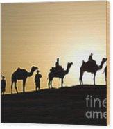 Camel Caravan, India Wood Print