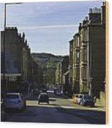 Car In A Queue Waiting For A Signal In Edinburgh Wood Print