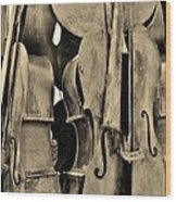 4 Cellos Sepia Wood Print