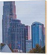 Charlotte City Skyline At Night Wood Print