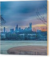 Charlotte The Queen City Skyline At Sunrise Wood Print