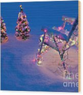 Christmas Lights On Trees And Lawn Chair Wood Print