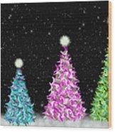 4 Christmas Trees Wood Print
