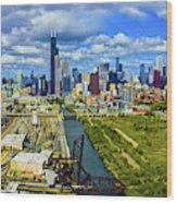 City At The Waterfront, Lake Michigan Wood Print