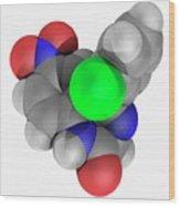 Clonazepam Drug Molecule Wood Print