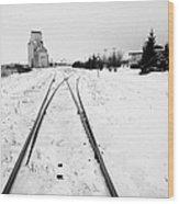 Cn Canadian National Railway Tracks And Grain Silos Kamsack Saskatchewan Canada Wood Print