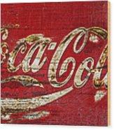 Coca Cola Sign Cracked Paint Wood Print
