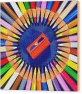 Colorful Pencils Wood Print