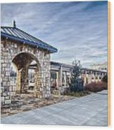 Cultured Stone Terrace Trellis Details Near Park In A City  Wood Print