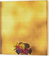 Daisies In A Vase On Shelf Wood Print