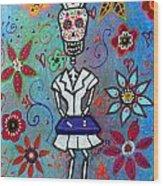 Dia De Los Muertos Nurse Wood Print