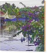 Ducks And Flowers In Lagoon Water Wood Print